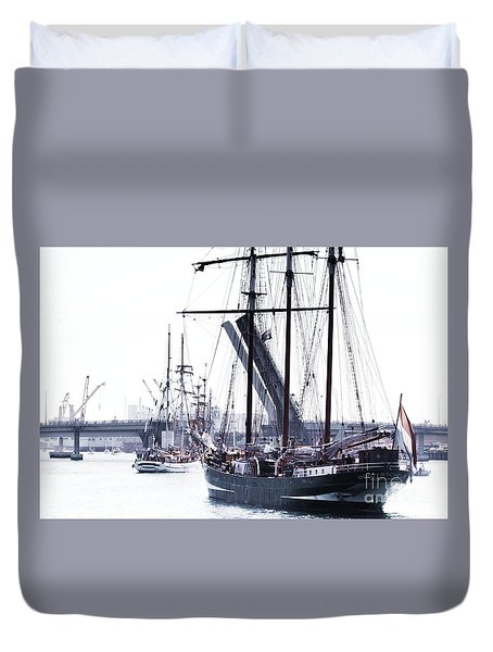 Duvet Cover featuring the photograph Oosterschelde Leaving Port by Stephen Mitchell