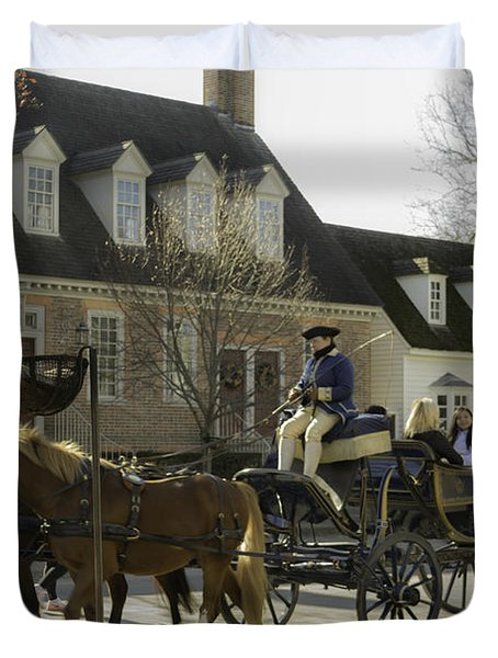 Open Carriage Ride In Colonial Williamsburg Virginia Duvet Cover