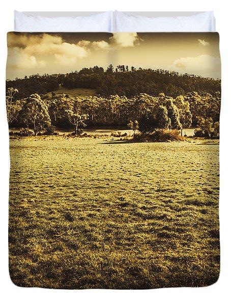 Open Fields Of Woodstock Tasmania Duvet Cover