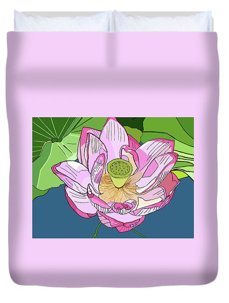 Open Lotus Duvet Cover by Jamie Downs