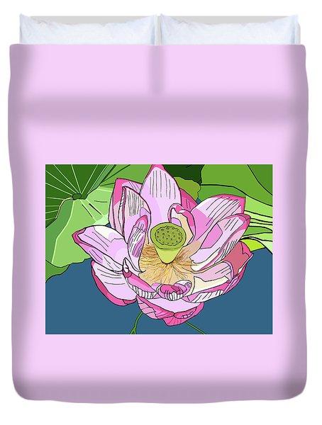 Open Lotus Duvet Cover