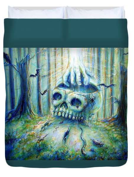 Duvet Cover featuring the painting Open Mind by Heather Calderon