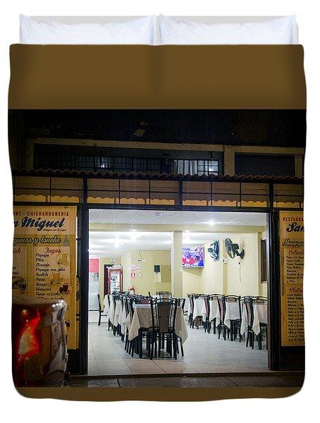 Open Restaurant In Lima, Peru Duvet Cover