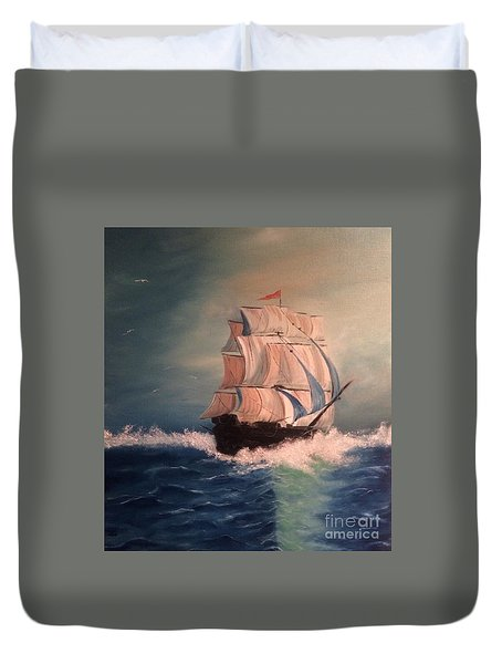 Duvet Cover featuring the painting Open Seas by Denise Tomasura
