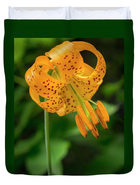 Duvet Cover featuring the photograph Open Tiger Lily by Jean Noren
