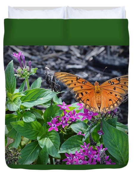 Open Wings Of The Gulf Fritillary Butterfly Duvet Cover