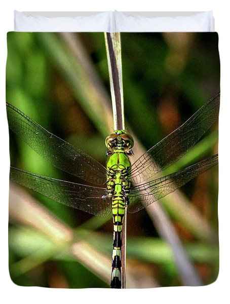 Duvet Cover featuring the photograph Openminded Green Dragonfly Art by Reid Callaway