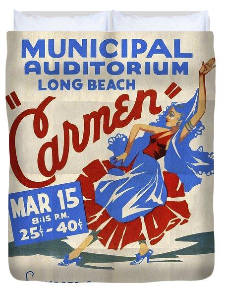 Opera Carmen In Long Beach - Vintage Poster Folded Duvet Cover