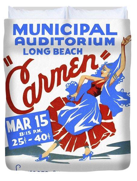 Opera Carmen In Long Beach - Vintage Poster Restored Duvet Cover