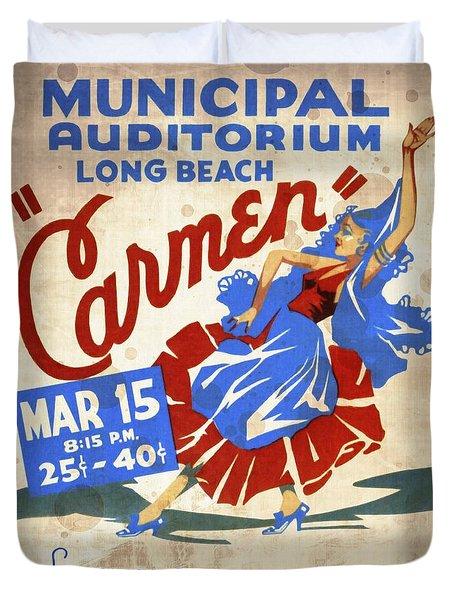 Opera Carmen In Long Beach - Vintage Poster Vintagelized Duvet Cover