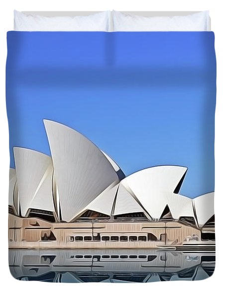Duvet Cover featuring the painting Opera House by Harry Warrick