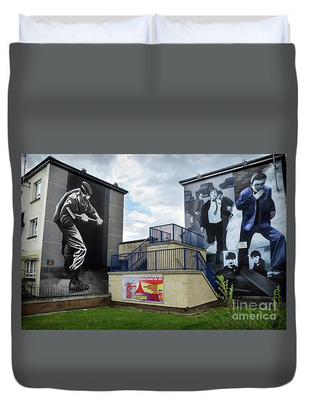 Operation Motorman Mural In Derry Duvet Cover by RicardMN Photography