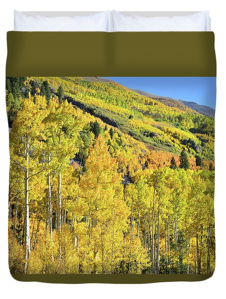 Duvet Cover featuring the photograph Ophir Road Hillside by Ray Mathis