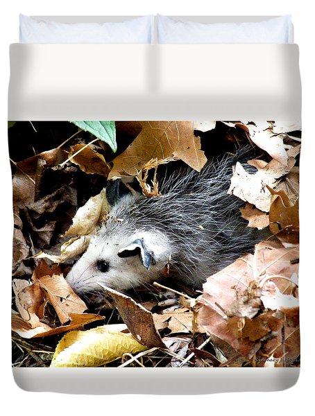 Opossum In The Leaves Duvet Cover