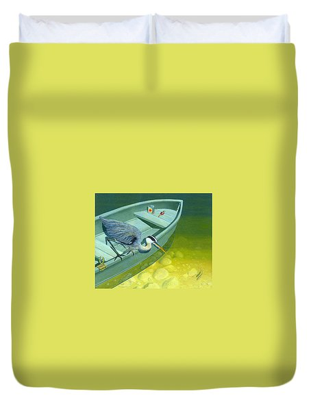 Duvet Cover featuring the painting Opportunity-the Great Blue Heron by Gary Giacomelli