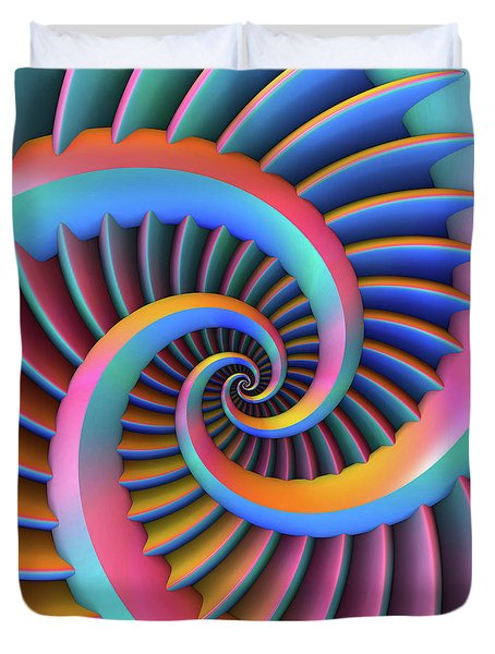 Duvet Cover featuring the digital art Opposing Spirals by Lyle Hatch