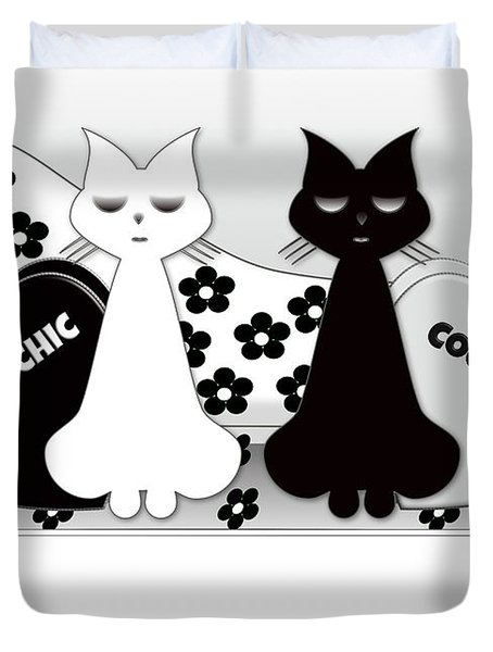 Opposites Attract - Black And White Cats On The Sofa Duvet Cover
