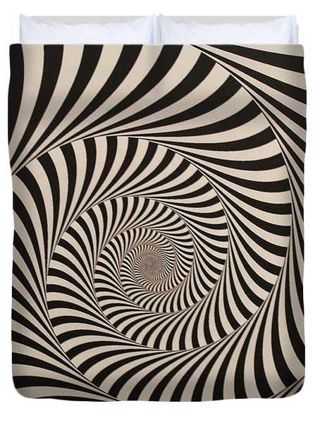 Optical Illusion Beige Swirl Duvet Cover