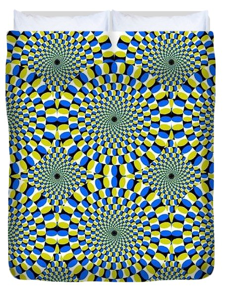 Optical Illusion Spinning Circles Duvet Cover