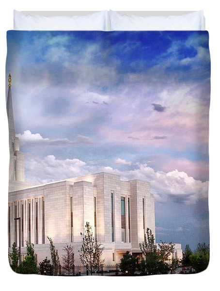 Oquirrh Mt Temple Duvet Cover by La Rae  Roberts
