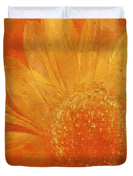 Duvet Cover featuring the digital art Orange Abstract Flower by Fine Art By Andrew David