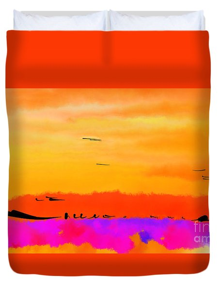 Orange Abstract Sunset Duvet Cover