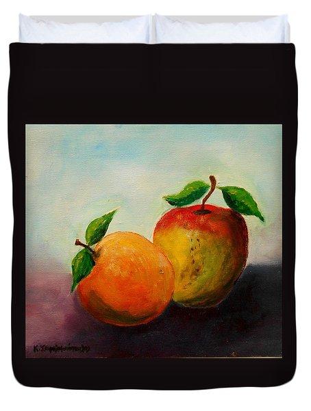 Apple And Orange Duvet Cover