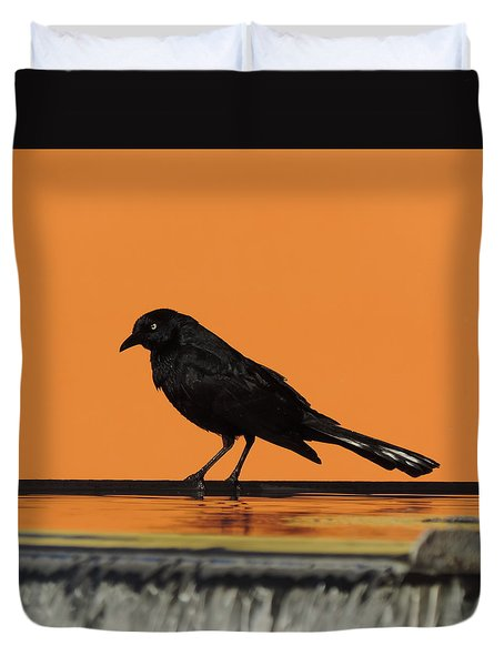 Orange And Black Bird Duvet Cover