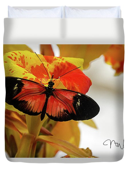 Orange And Black Butterfly Duvet Cover