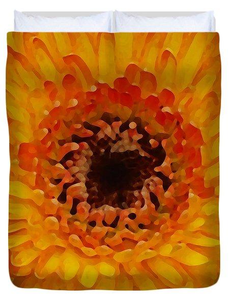 Orange And Black Gerber Center Duvet Cover by Amy Vangsgard