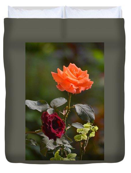 Orange And Black Rose Duvet Cover