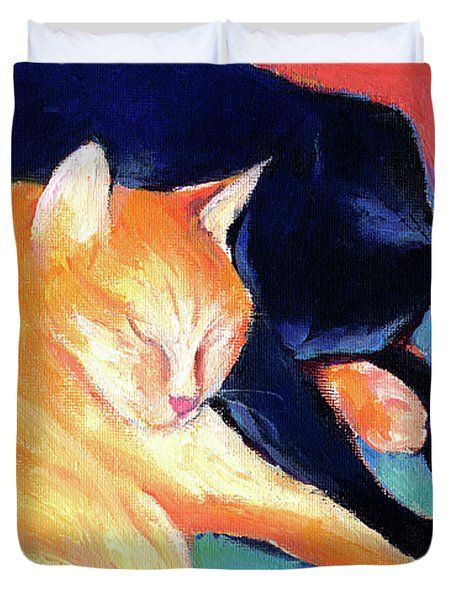 Orange And Black Tabby Cats Sleeping Duvet Cover