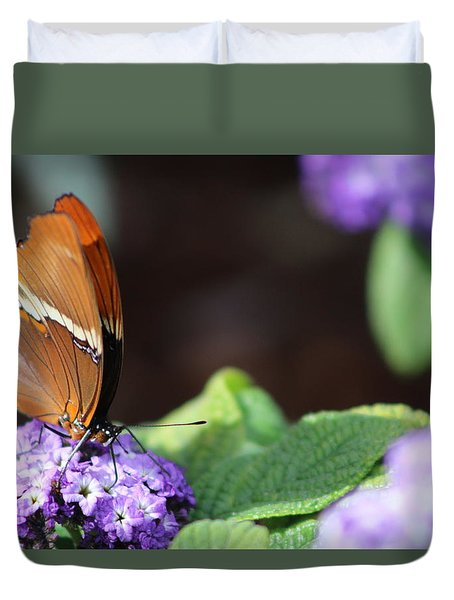 Orange And Brown Butterfly On Purple Duvet Cover