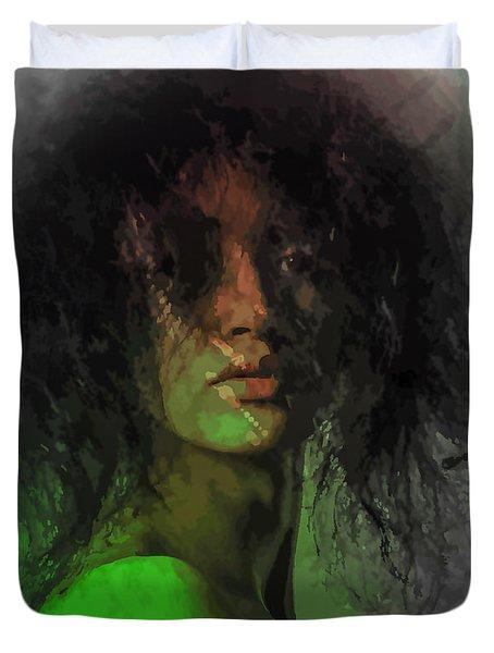Orange And Green Duvet Cover by Moustafa Al Hatter