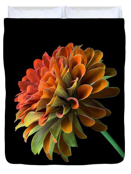 Orange And Green Zinnia  Duvet Cover