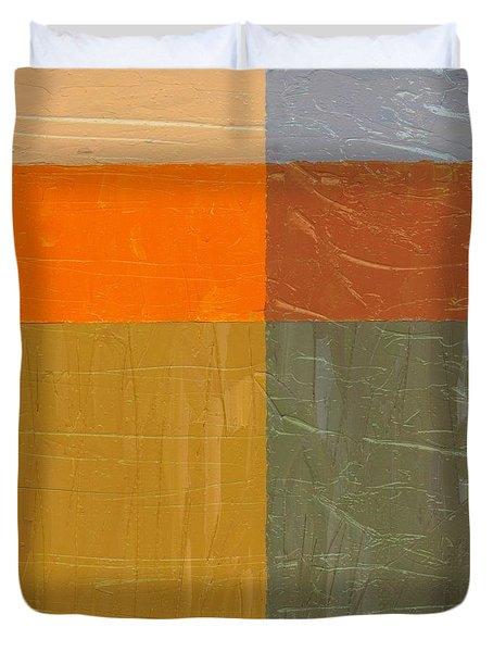 Orange And Grey Duvet Cover