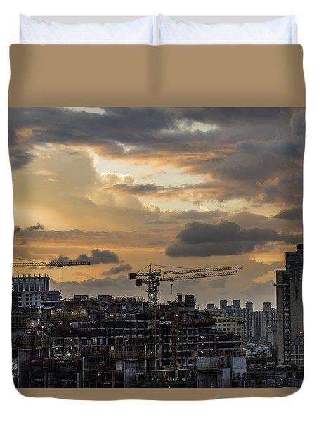 Orange And Grey Duvet Cover by Rajiv Chopra