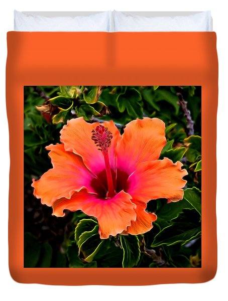 Orange And Pink Hibiscus 2 Duvet Cover by Pamela Walton