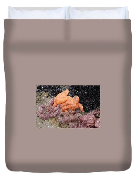 Orange And Purple Starfish Duvet Cover