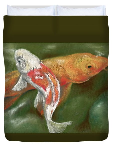 Orange And White Koi With Mossy Stones Duvet Cover