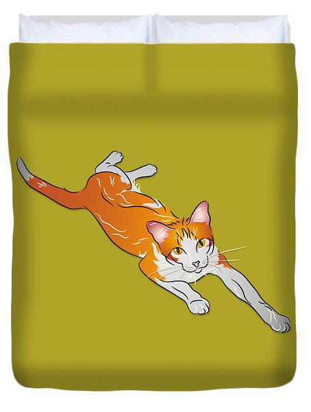 Duvet Cover featuring the digital art Orange And White Tabby Cat by MM Anderson