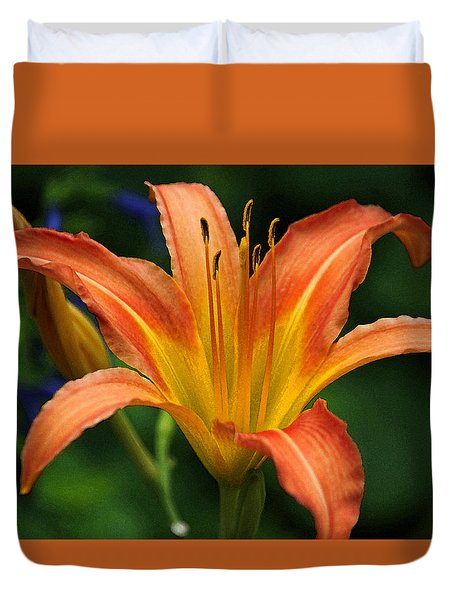 Orange And Yellow Daylily In Watercolor Duvet Cover by Suzanne Gaff