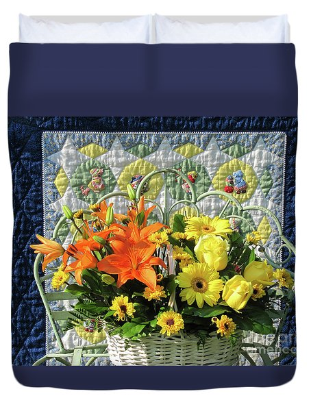 Duvet Cover featuring the photograph Orange And Yellow Delights by Nancy Lee Moran