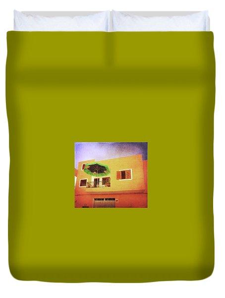 Duvet Cover featuring the photograph Orange Apartment, Alcala by Anne Kotan