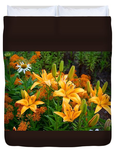 Duvet Cover featuring the photograph Orange Asiatic Lilies And Butterfly Weed by Kathryn Meyer