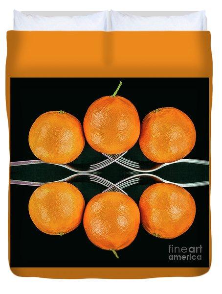 Orange Balance Duvet Cover by Shirley Mangini