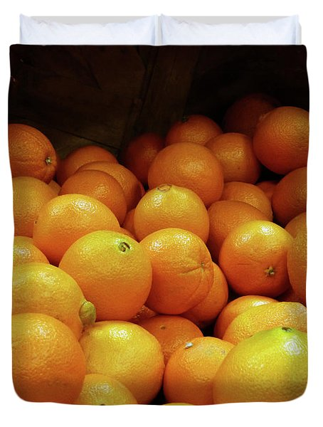 Orange Basket Duvet Cover by Methune Hively