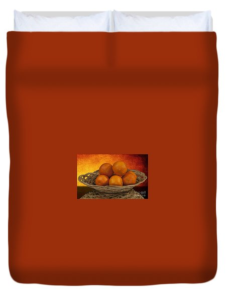 Orange Basket Duvet Cover