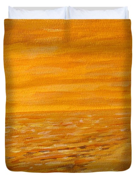 Duvet Cover featuring the painting Orange Beach by Ian  MacDonald