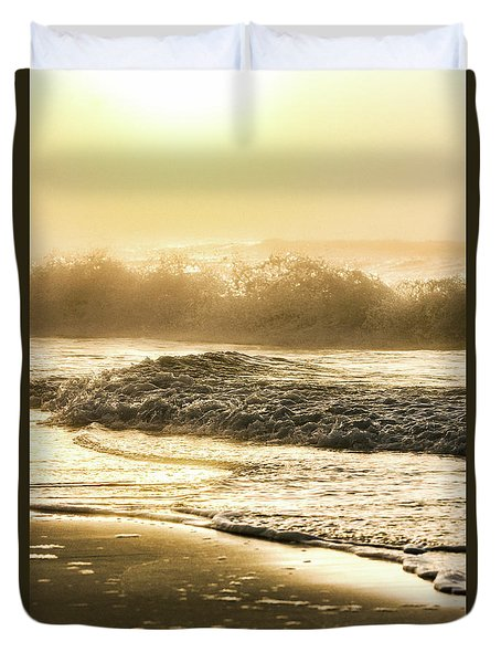 Duvet Cover featuring the photograph Orange Beach Sunrise With Wave by John McGraw